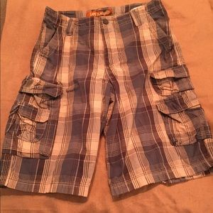 Lee cargo shorts blue plaid 14 husky adjustable